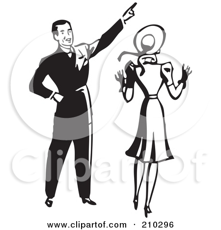 Free  Rf  Clipart Illustration Of A Retro Black And White Man Pointing