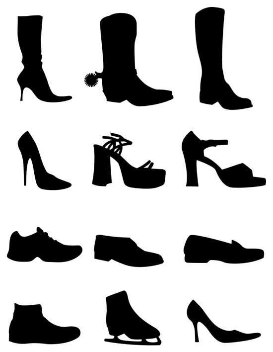 Free Vector Set  12 Shoes Silhouettes