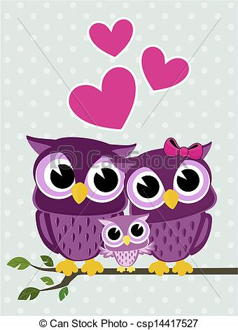 Illustration Of Cute Owls Family   Cute Owls Couple With Baby Owl