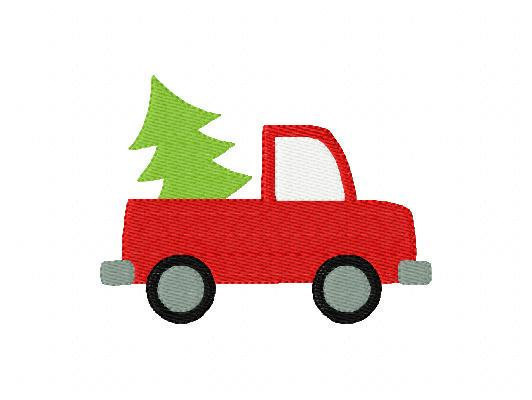 Instant Download Truck With Christmas Tree Machine Embroidery Design