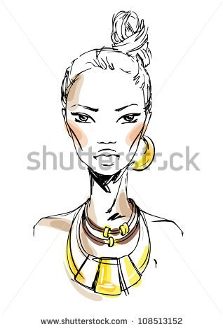 Of The Woman With Massive Jewelry  Fashion Illustration   Stock Vector