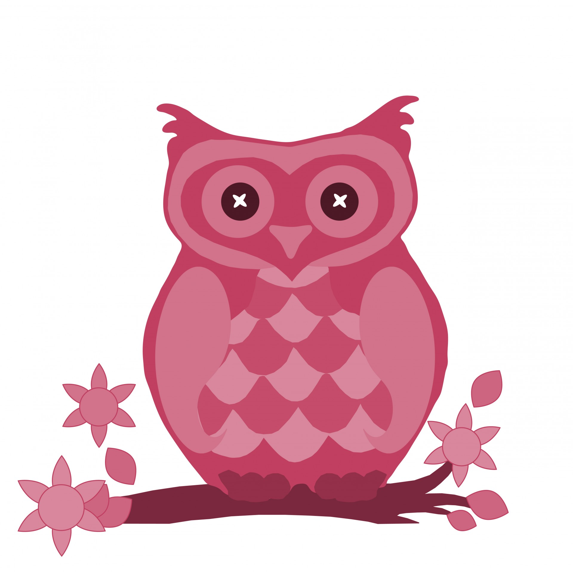 Owl In Pink Cute Clipart By Karen Arnold
