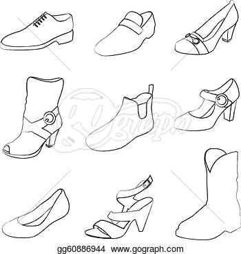 Shoes Silhouettes Isolated On White Background  Eps Clipart Gg60886944