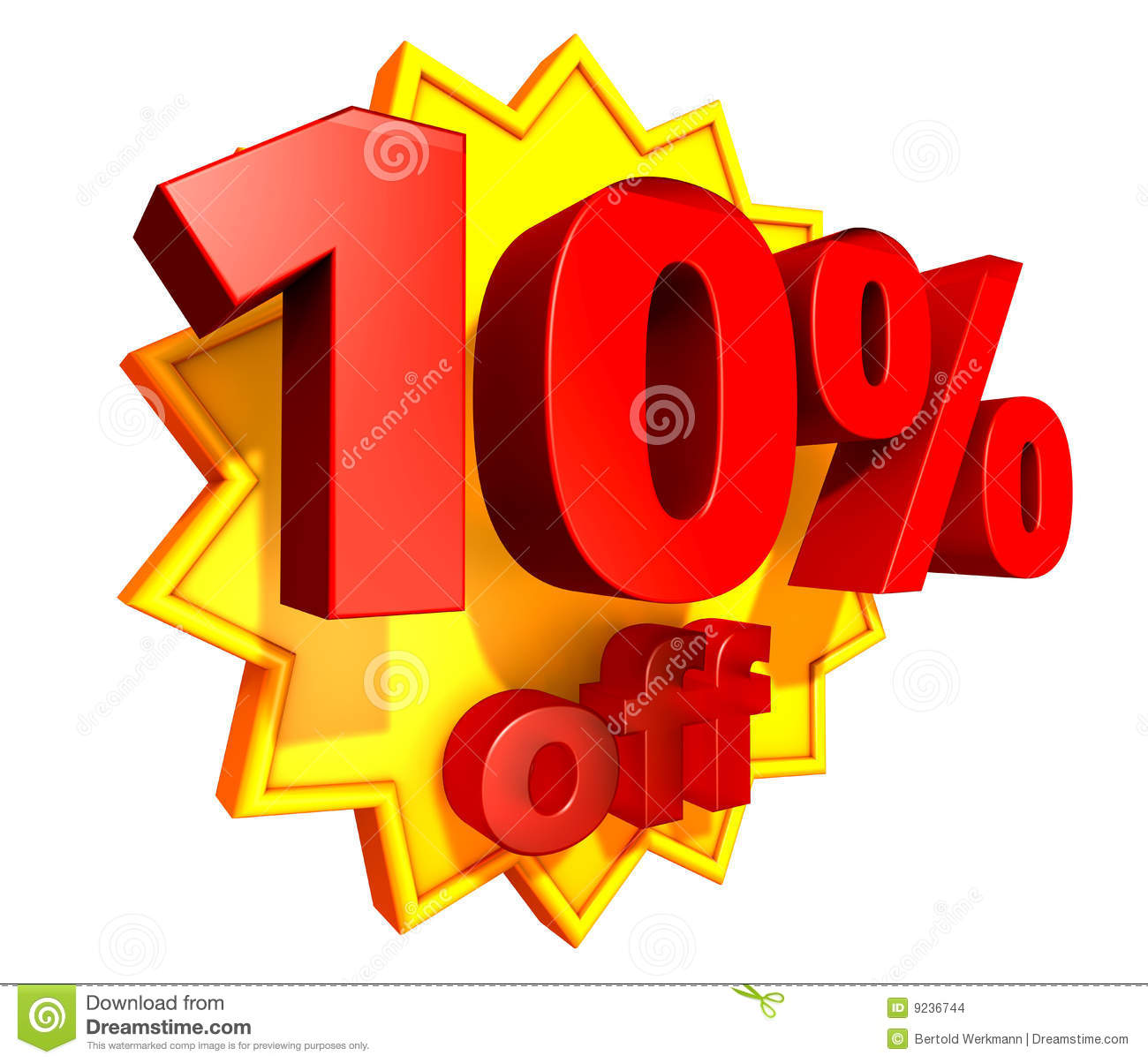 Sign For 10 Per Cent Off In Red Ciphers At A Yellow Star On A White
