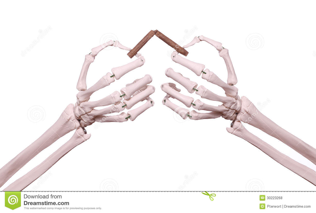 Skeleton Hands With Broken Cigar Royalty Free Stock Photos   Image