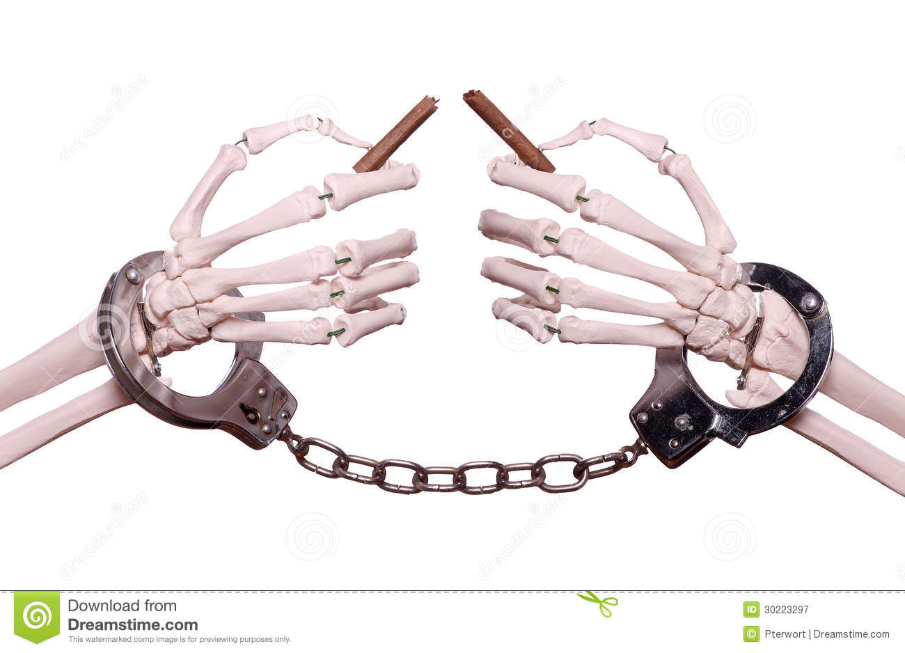 Skeleton Hands With Handcuff Holding Broken Cigar Royalty Free Stock