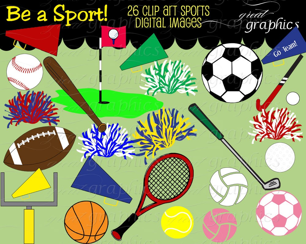 Sports Clipart Sports Clip Art Digital Clip Art By Greatgraphics