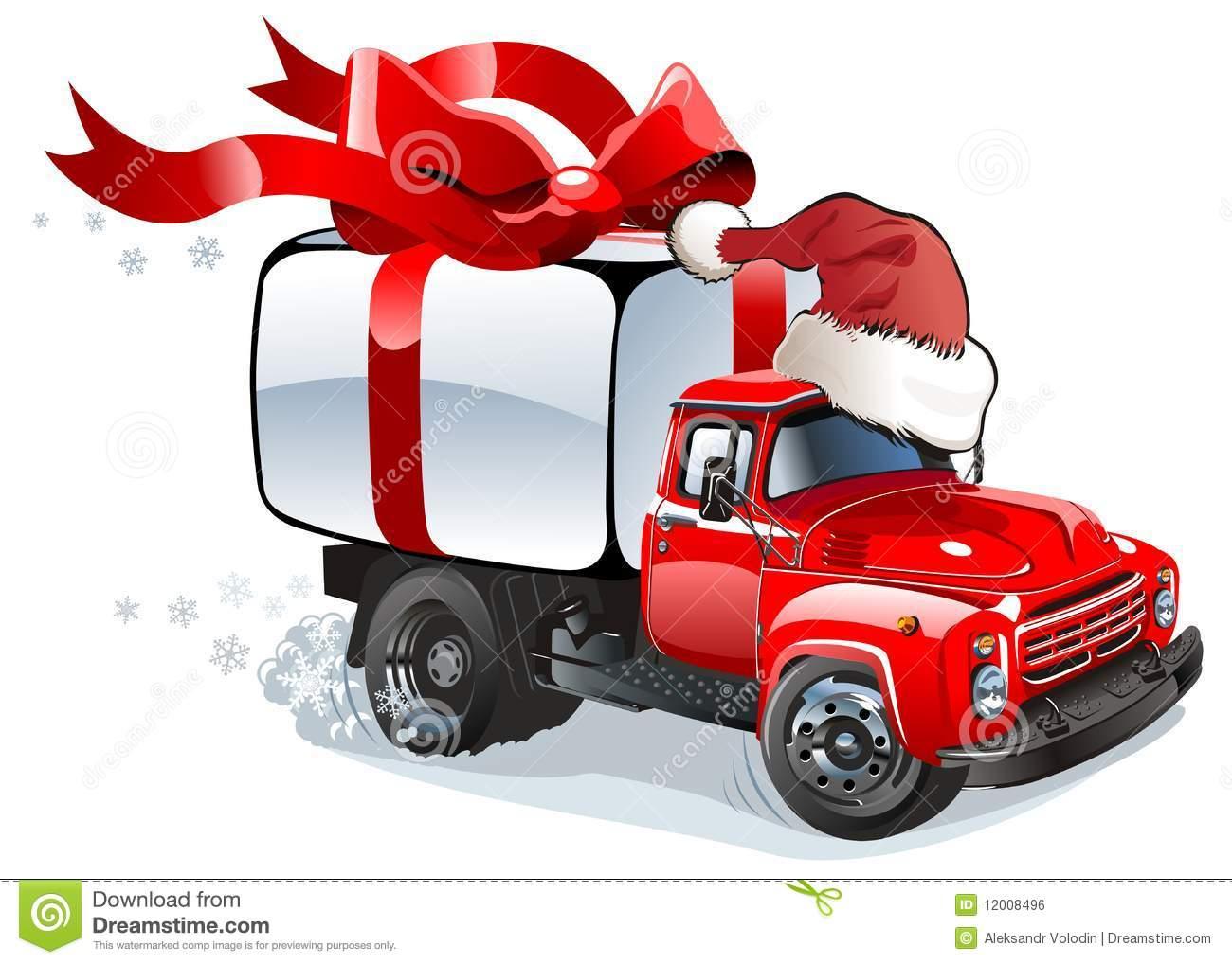 Vector Cartoon Christmas Delivery   Cargo Truck  Available  Ai  10
