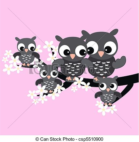 Vector Clipart Of Owl Family   A Cute Owl Family Sitting In A Tree