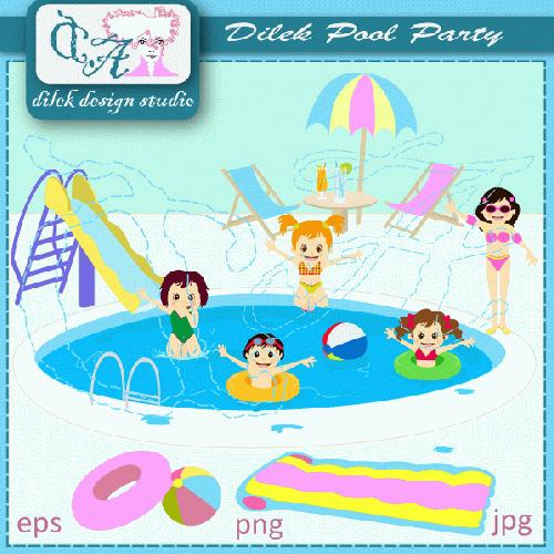 Pool party clipart clipart suggest for Free clipart swimming pool party
