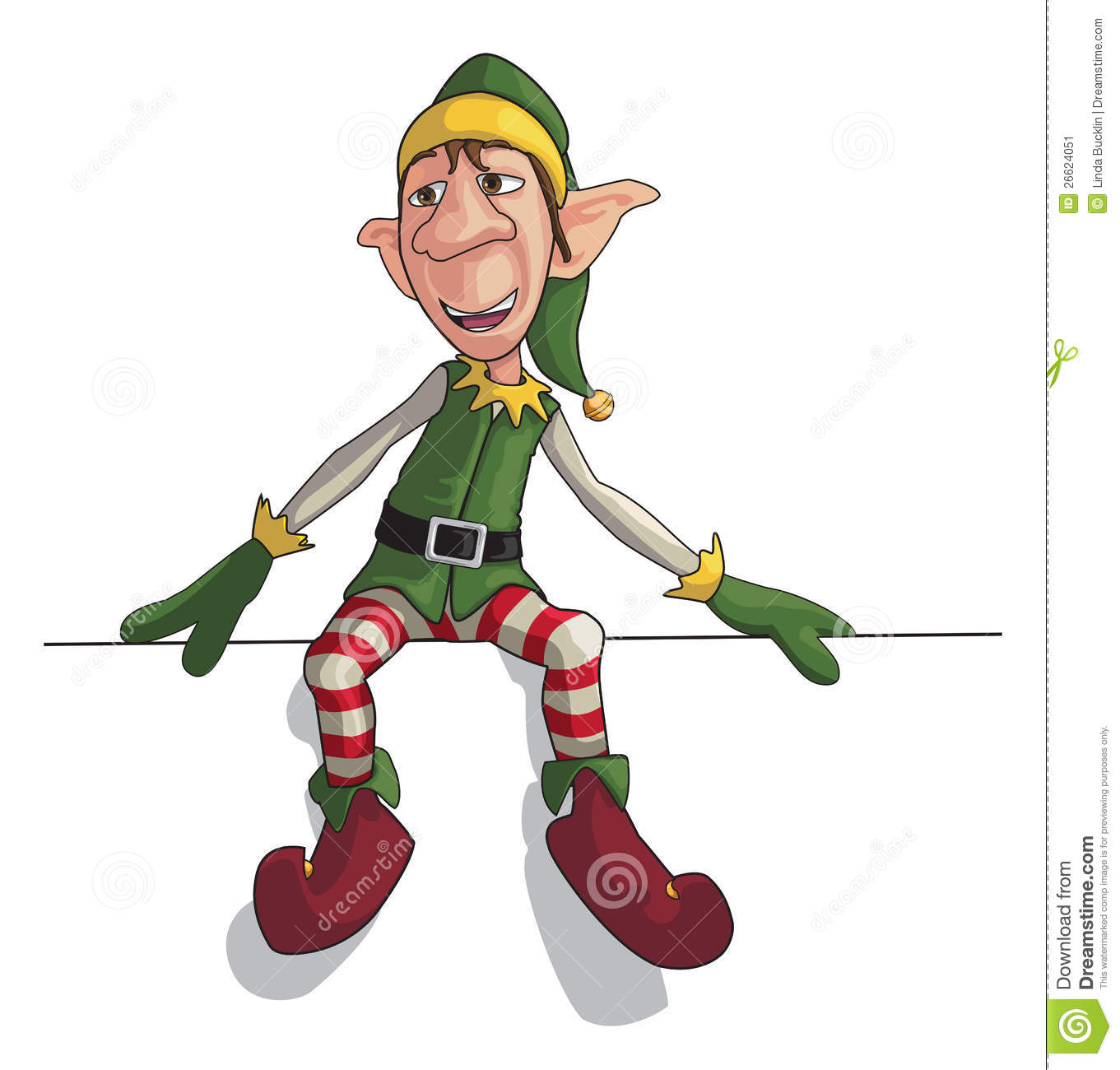 Christmas Elf Sitting On Edge Stock Image   Image  26624051