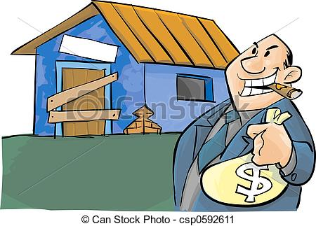 Clipart Of Corruption   A Corrupt Politic And A Poor House Csp0592611