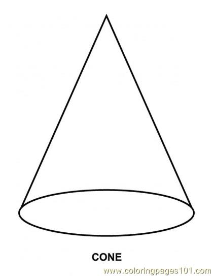 Coloring Pages Cone Shape  Education   Shapes    Free Printable