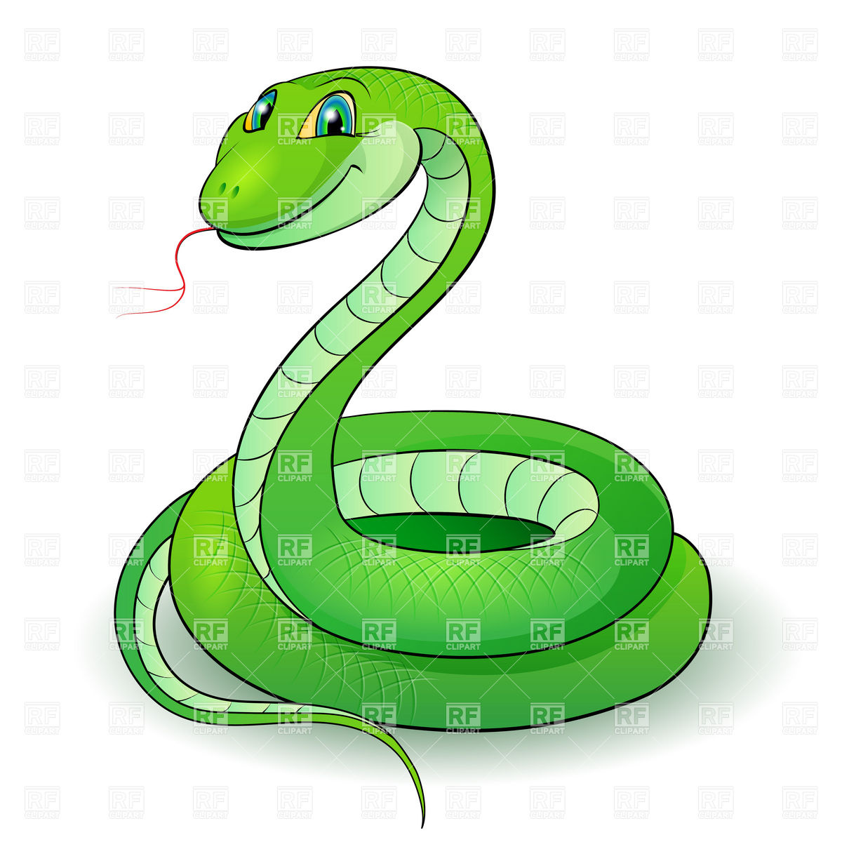 Cute Cartoon Green Snake Download Royalty Free Vector Clipart  Eps