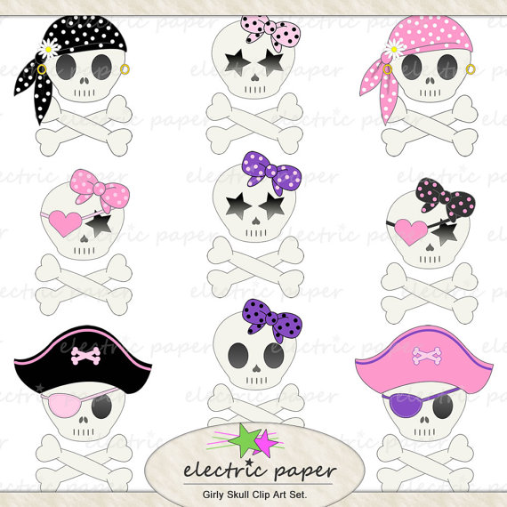 Cute Girly Skull Clip Art Set   9 Girly Pirate Skulls Instant Download