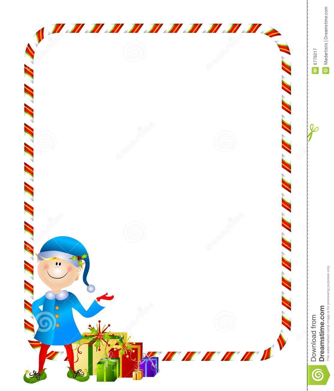 Featuring A Little Christmas Elf With Gifts And Candy Cane Border