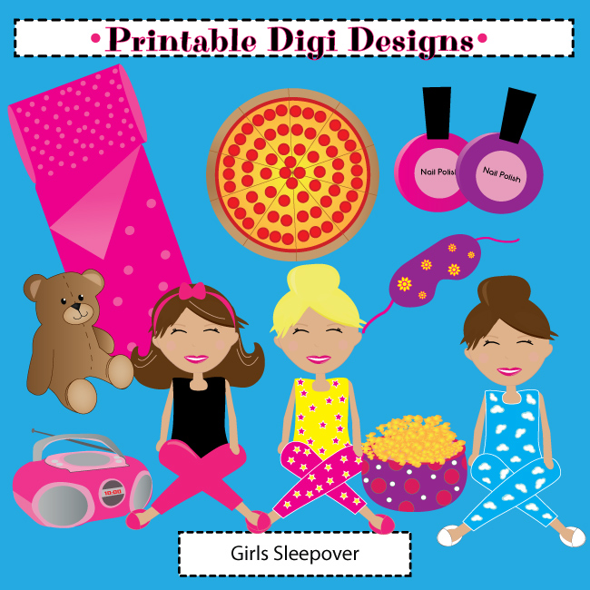 Girls Sleepover Party Clipart Set