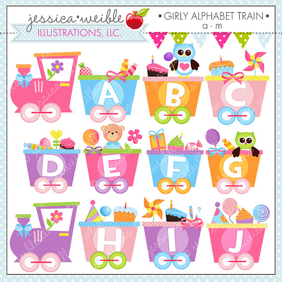 Girly Alphabet Train A M Cute Digital Clipart For Commercial Or