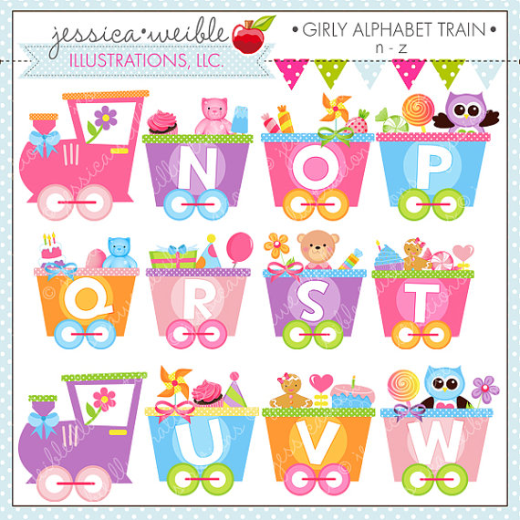Girly Alphabet Train N Z Cute Digital Clipart For Commercial Or