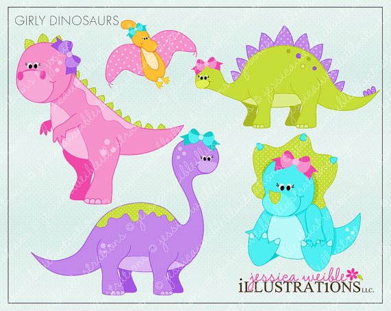 Girly Dinosaurs Cute Digital Clipart   Commercial Use Ok   Dinosaurs