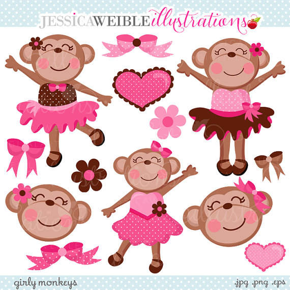 Girly Monkeys Cute Digital Clipart   Commercial Use Ok   Pink Monkey