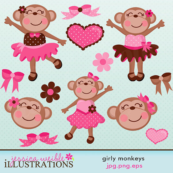 Girly Monkeys Cute Digital Clipart For Card Design Scrapbooking And