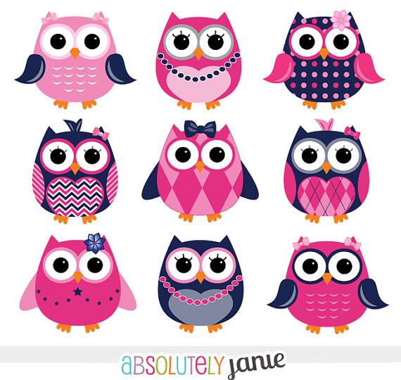 Girly Navy   Pink Owls Digital Clipart   Cute Clip Art For Personal Or