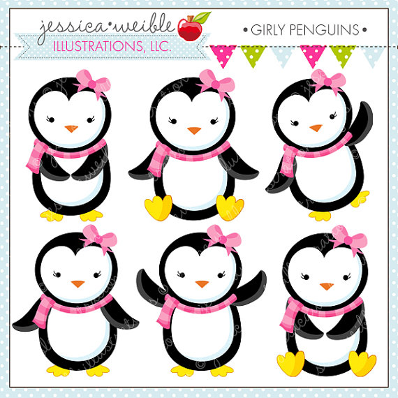 Girly Penguins Cute Digital Clipart   Commercial Use Ok  Penguin