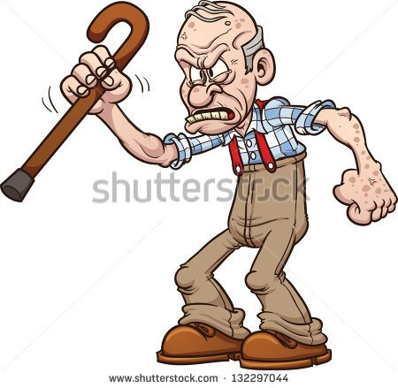 Grumpy Old Man  Vector Clip Art Illustration With Simple Gradients