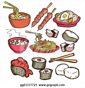 Illustration   Set Of Asian Food Doodle  Clipart Drawing Gg63337721