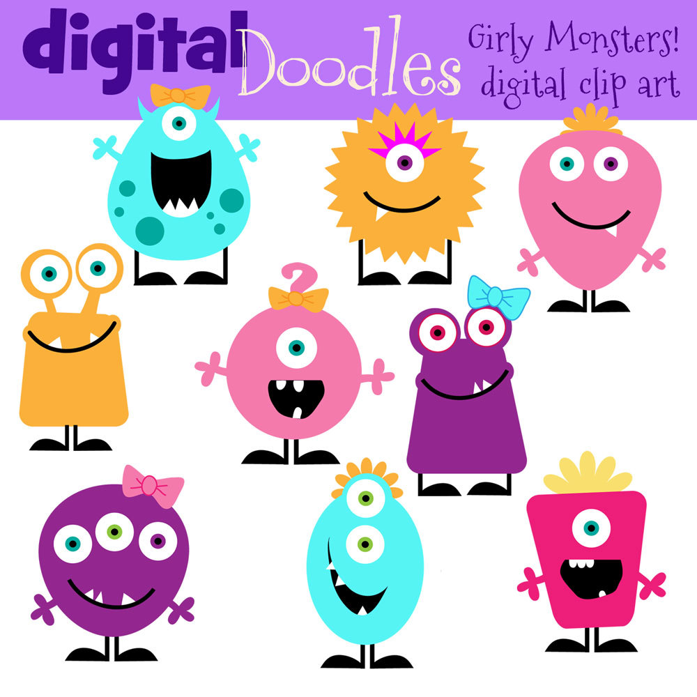 Instant Download Girly Monster Clip Art By Kpmdoodles On Etsy