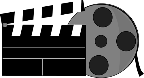 Movie Reel Clip Art Image   Blank Movie Clapperboard And A Movie Reel