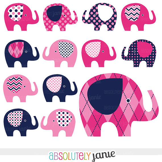 Pink Navy Baby Elephant Digital Clipart   Preppy   Girly Clip Art