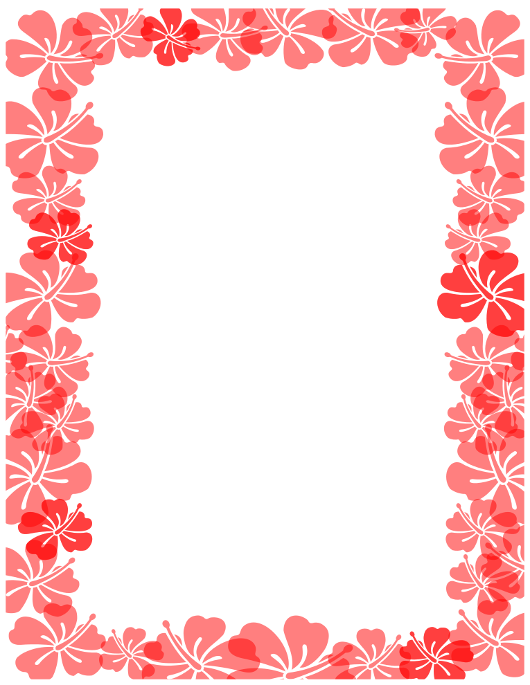 Red Hibiscus Border Full 8 5 X 11 Border Simply Right Click And Save