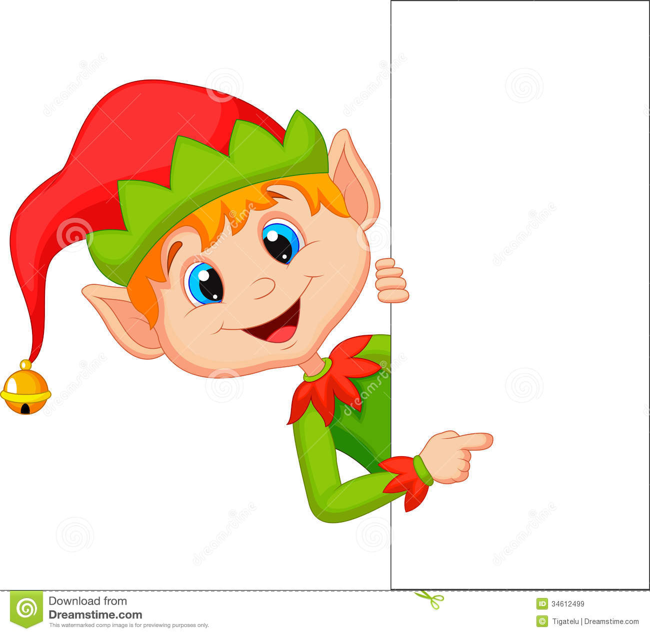 Royalty Free Stock Images  Cute Christmas Elf Cartoon Pointing