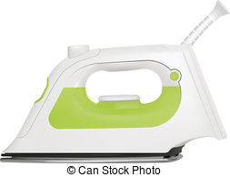 Steam Iron   Vector Realistic Steam Iron On White Background