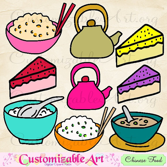 To Chinese Food Clipart Digital Chinese Meal Clipart Asian Food