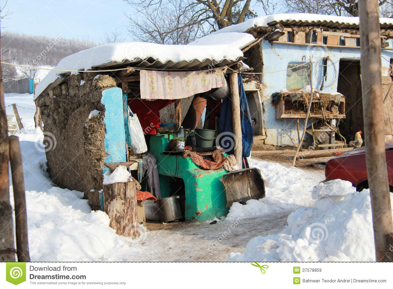 Very Poor House From A Poor Village In Middle Of Winter In Vaslui