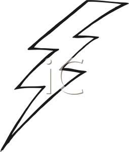 Black And White Lightning Bolt   Royalty Free Clipart Picture