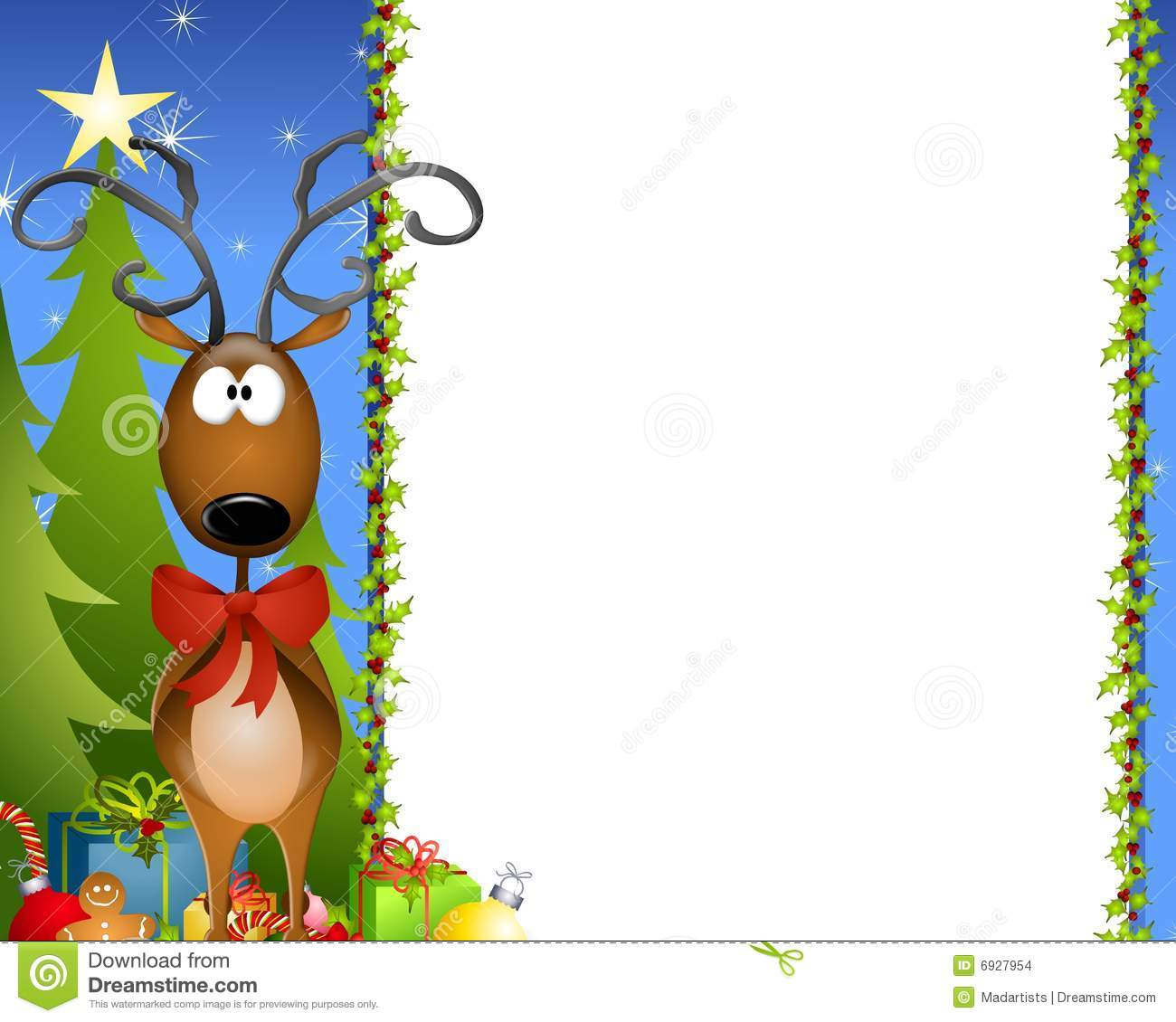 Border Illustration Featuring A Christmas Tree Border With Reindeer
