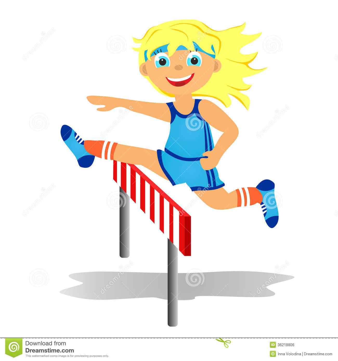 Childrens Sport In Summertime  Girl Overjumps Hurdle
