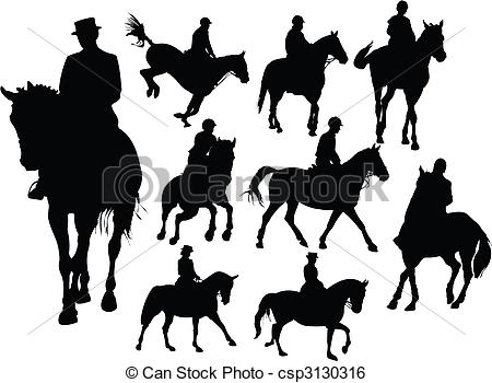 Clip Art Vector Of Horse Rider Silhouettes Csp3130316   Search Clipart