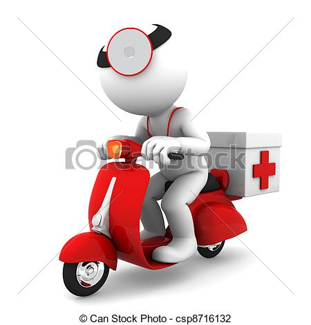 Emergency Drill Clip Art Medic On Scooter Emergency