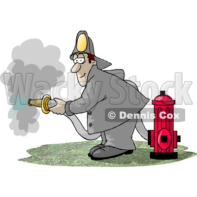 Fireman Spraying Water From A Hose Attached To A Fire Hydrant Clipart