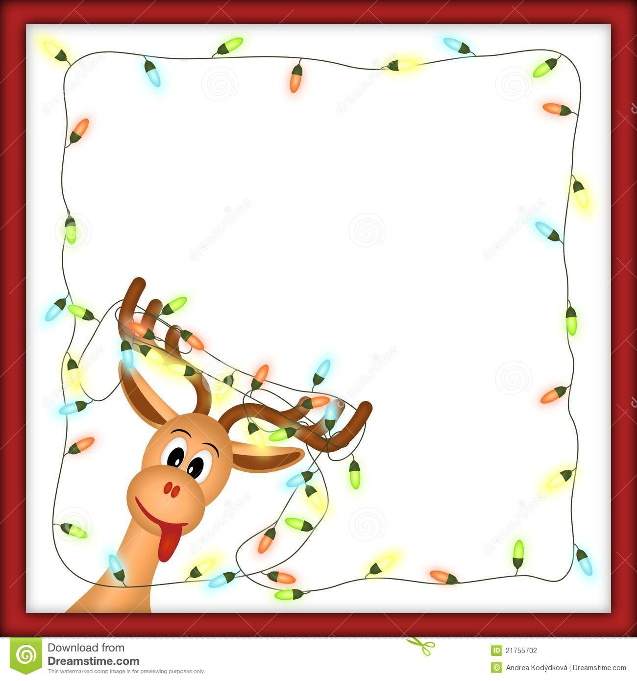 Funny Reindeer With Christmas Lights Tangled In Antlers In Red Frame