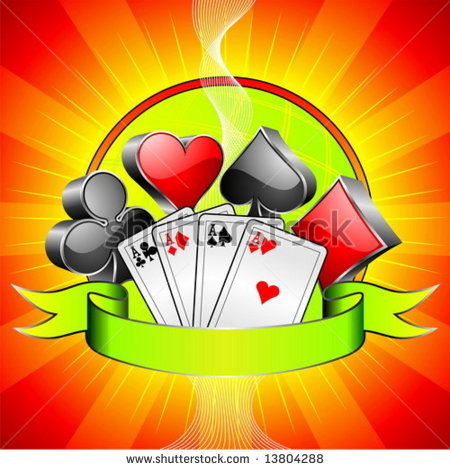 Gambling Illustration With 3d Casino Symbols Cards And Ribbon