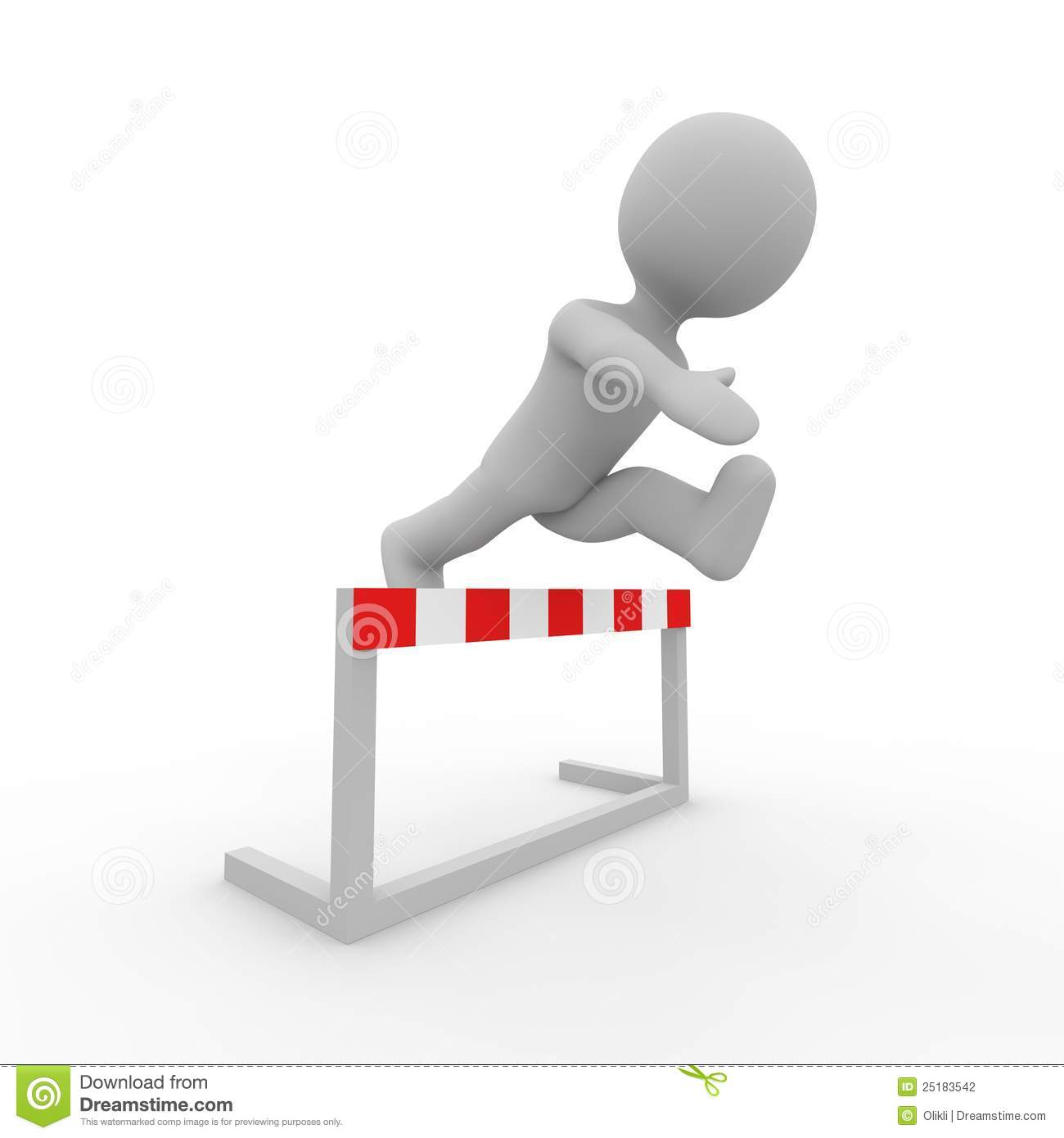 Grey Figure Jumping Over A Hurdle Stock Photography   Image  25183542
