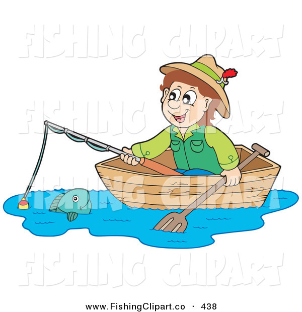 Guy On A Holiday Fishing From A Boat Royalty Free Clip Art