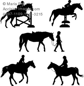 Horse Rider And Horse Silhouettes Clipart Image   Acclaim Stock
