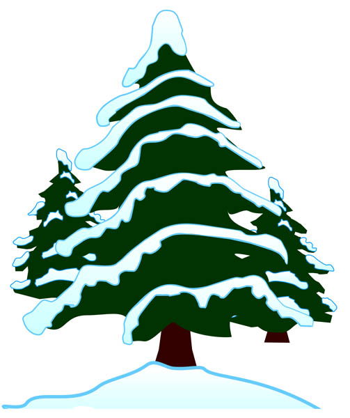 Illustration Of Snow Covered Evergreen Trees